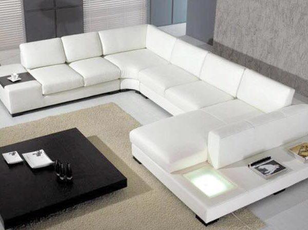 White Leather Sofa. Gertrudes White Leather Sofa. White Leather