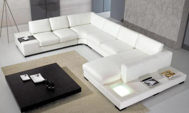Remarkable White Leather Sofa With Led Light Home Remodeling Inspirations Cosmcuboardxyz