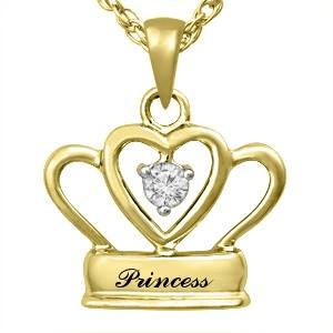 Princess 9K Yellow Gold pendant & White Topaz center stone