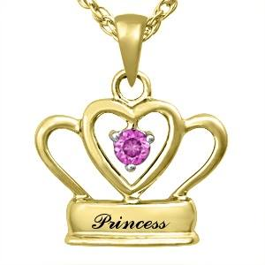 Princess 9K Yellow Gold pendant & Pink Sapphire center stone