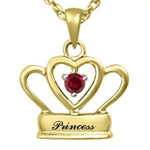Princess 9K Yellow Gold pendant & Ruby center stone