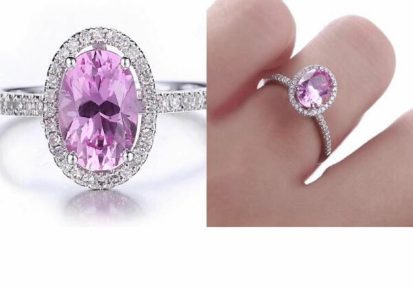 Madaame Pink Topaz Real 14K White Gold Oval 8x6mm Pink Topaz & Diamond Ring