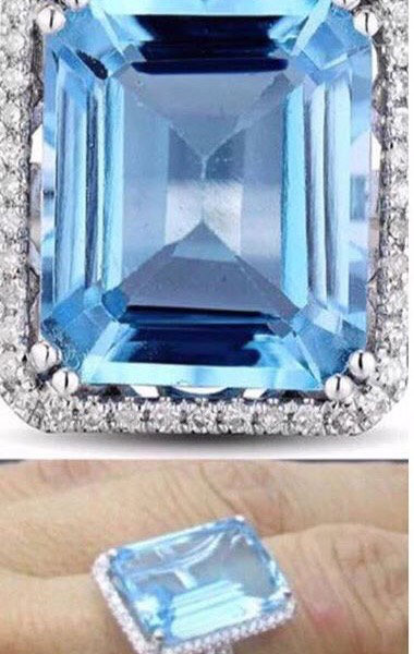 Madaame Sky Blue Topaz 14x10mm-Emerald Blue Topaz Solid 14k White Gold Ring