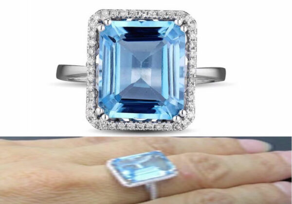 Madaame Sky Blue Topaz Ring with 14x10mm Emerald Blue Topaz and Solid 14k White Gold