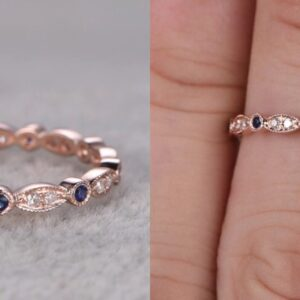 Madaame womens 14k solid gold ring featuring stacked natural diamond and blue sapphire stones