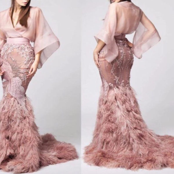 Pink Ostrich feather evening dress ball gown from Madaame.co.uk