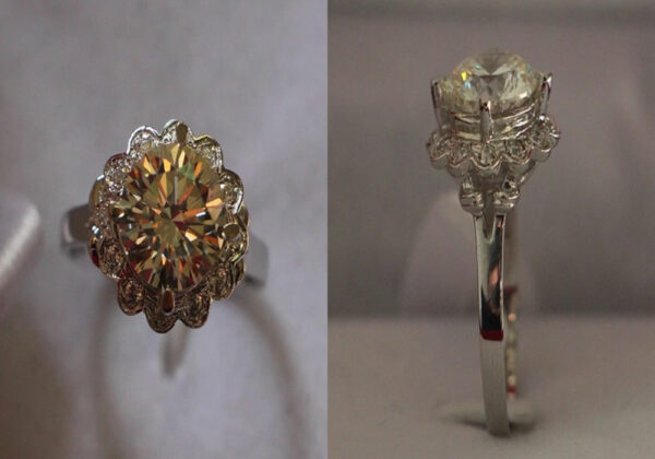 Romantic Solid 14K White Pure Gold Ring & Synthetic Diamond Flower