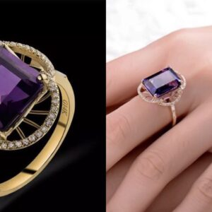 Vintage Solid 14Kt Gold Diamond Amethyst Ring featuring Emerald Cut 10x14mm by Madaame