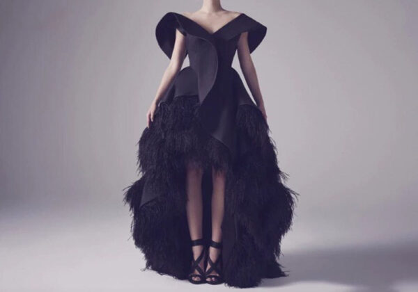 XOXO black feather evening dress ball gown from Madaame.co.uk