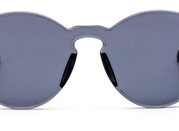 Black One Piece Transparent Plastic Lens sunglasses from Madaame
