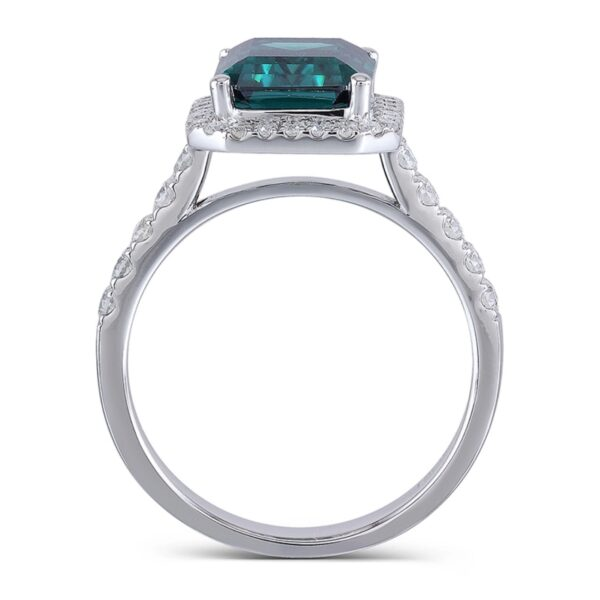 14K White Gold 8X10mm Emerald Moissanite Halo Engagement Ring with Accents