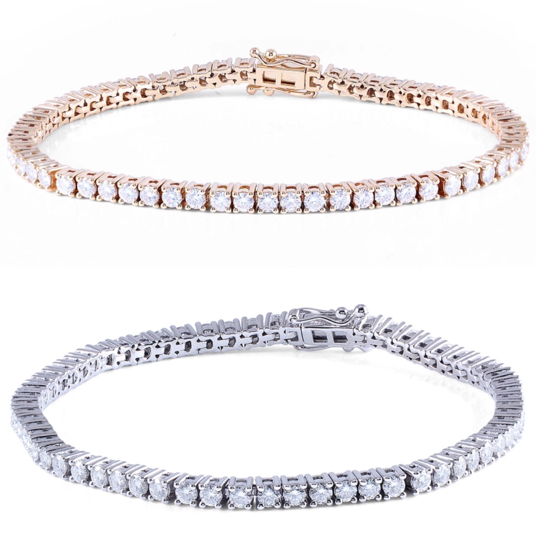 14K White/Yellow Gold 4.08CTW H Color 2.5mm Width Moissanite Simulated Diamond Tennis Bracelet For Women from Madaame