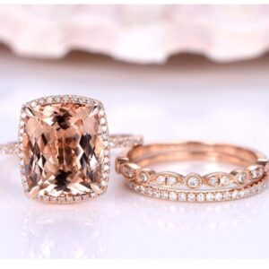 4.2carat 12*10mm Real Natural Morganite Engagement Ring Set Solirate with Moissanite EF colour 14k Rose Gold from Madaame