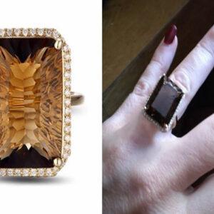 Madaame women's 14K Yellow Gold 16.62CT Emerald Cut Smoky Topaz Engagement Diamond Ring