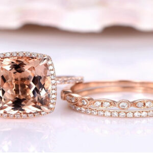 4.2carat 12*10mm Real Natural Morganite Engagement Ring Set Solirate with Moissanite EF colour 14k Rose Gold For Women