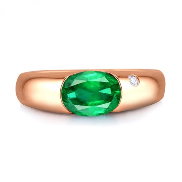New Oval 6x8mm 18kt Rose Gold Natural Colombia Emerald Ring Engagement Ring Real Diamond Genuine Gemstone from Madaame