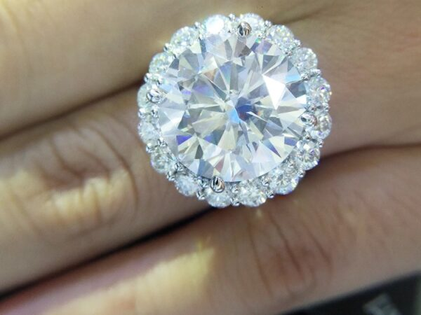 White Gold 13 CTW14mm Round Cut Engagement/Wedding ring with Moissanite Diamond