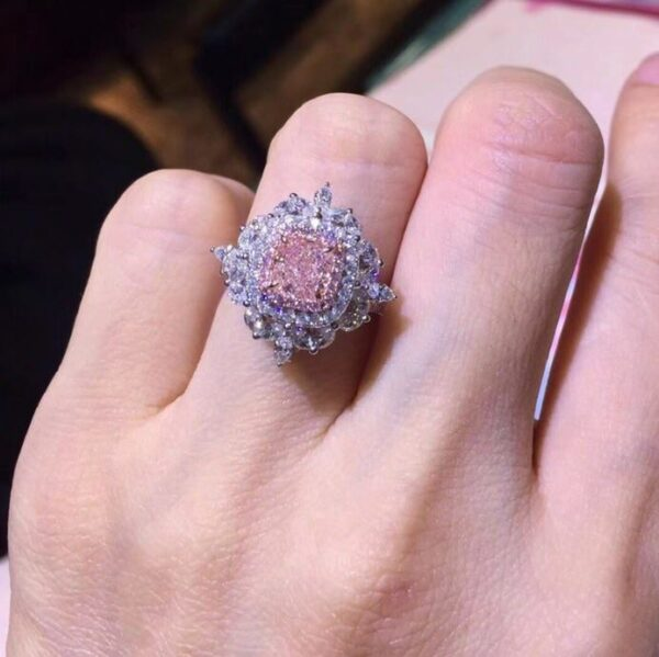 A women's 18K White Gold (AU750) Wedding Ring featuring Certified 2.252 Carat Rectangle Cut Real Natural Pink Diamond from Madaame.co.uk