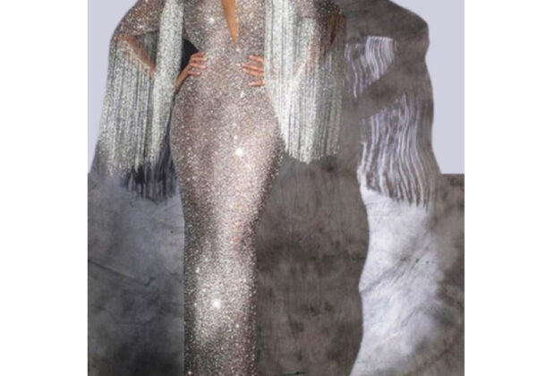 Silver Beading Tassel Ball Gown from Madaame.co.uk