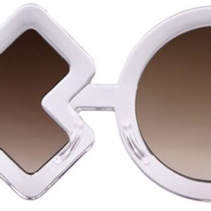 Fashion sunglasses in the shape of naughts and crosses. Features a plastic frame and dark lenses.