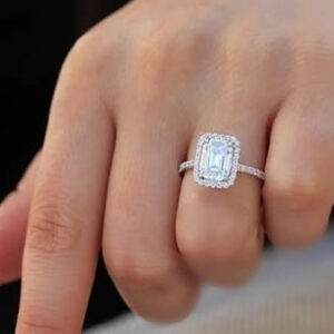 Madaame 3.5 Carat Rectangular Diamond Princess Engagement Ring