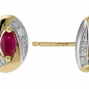 9ct Gold Garnet Stud Earrings featuring pink topaz stones in the centre