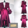 Damsen Red Abaya Winter Robe Night Gown with fur train from Madaame