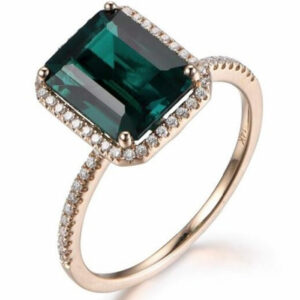 Madaame Wedding Band Halo Ring With Green Emerald Gem Stone