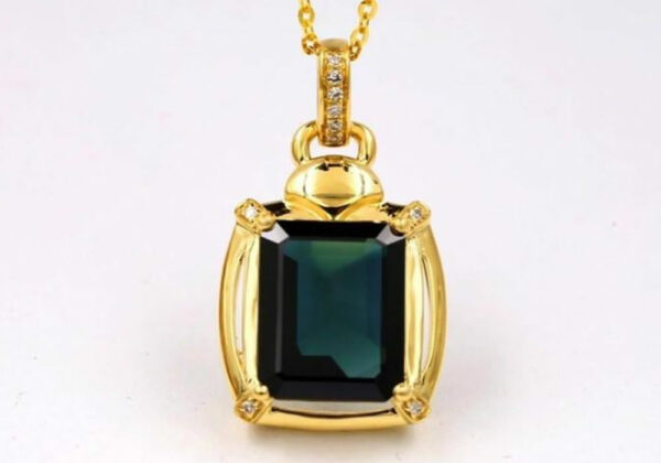 Madaame Yellow Gold Natural Sapphire Pendant With Diamonds