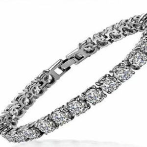 Madaame Round Diamond 18K White Gold Cover Bracelets Bangles