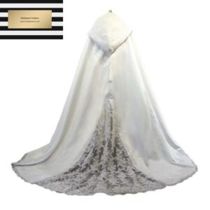White Abaya Cloak Bride with lace edge from Madaame