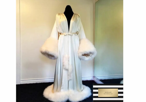 White Winter Robe Night Gown with fur train from Madaame
