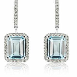 White Gold Light Blue Topaz Diamond Earrings Solid 14K white gold light blue topaz diamond earrings