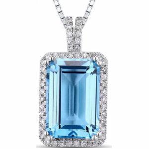 White Gold Light Blue Topaz Diamond Earrings Solid 14K white gold light blue topaz diamond pendant