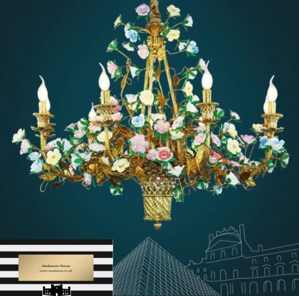 French Ceramic Flower Chandelier from Madaame
