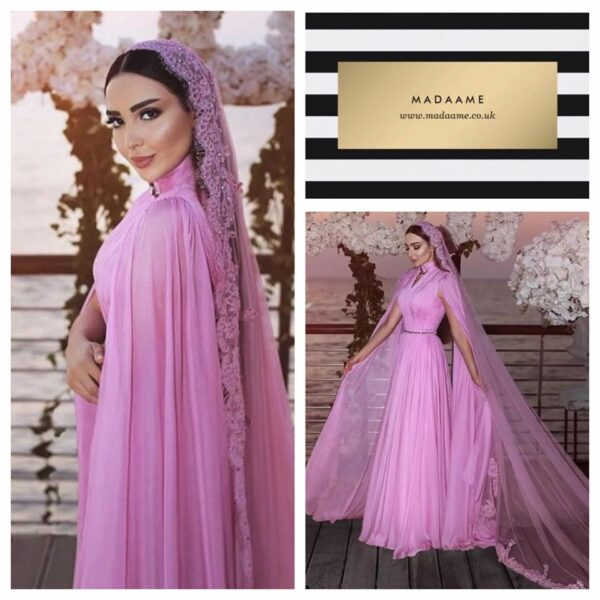 Pretty Muslim Chiffon A-line Gown With Long Veil And High Collar