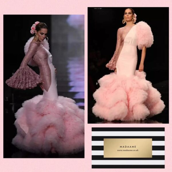 Pink see through lace flamingo ball gown evening dress Pink See Through Lace Flamingo Ball Gown Evening Dress featuring long sleeves and puffy tulle.