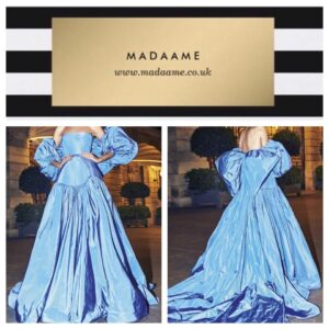 Saudi Arabic Sky Blue Taffeta Long Ball Gown Evening Dress Saudi Arabic sky blue taffeta long ball gown evening dress. Features no straps and falls off the shoulder and a huge bow at the back.