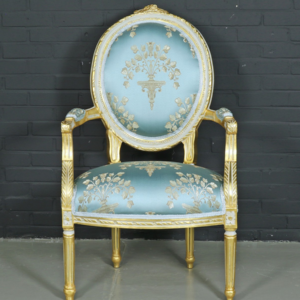 "Antique style baroque salon ""Medaillon"" chair with light turquoise armrests"