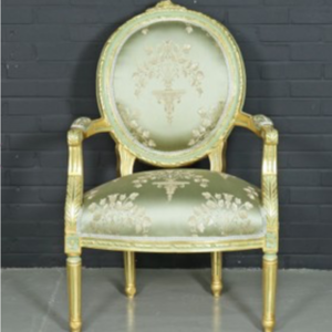 "Antique style baroque salon ""Medaillon"" chair with light green armrests"