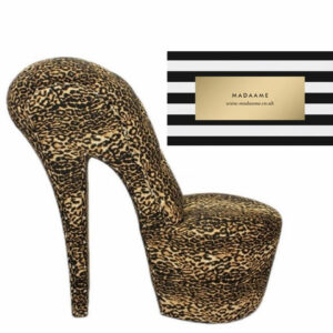 High Heel Platform Shoe Chair in a leopard print from Madaame