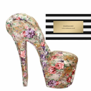 High Heel Platform Shoe Chair in a flower pattern from Madaame