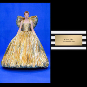Metallic princess golden ball gown. From Madaame.co.uk