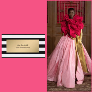 Haute couture pink ball gown with golden sleeves features red bows around the shoulder, and a golden bow sash around the waist in keeping with the theme of voluminous ruffles.