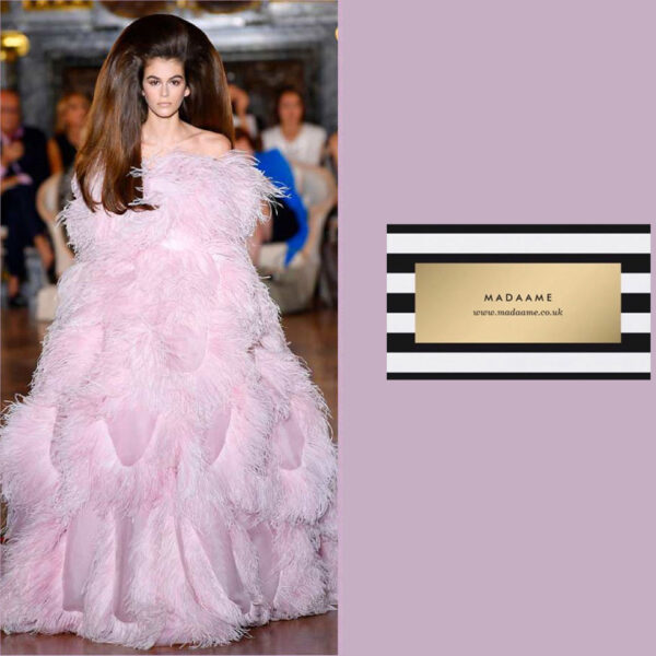 A Haute couture strapless feathered ball gown in bubblegum pink.
