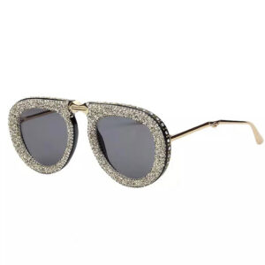 Black Grey Bling Rhinestone Sunglasses from Madaame