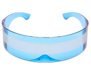Cobalt Blue Robo Cyberpunk Raver Shield Sunglasses from Madaame