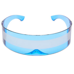 Cobalt Blue Robo Cyberpunk Raver Shield Sunglasses from Madaame