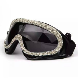 Black Grey rhinestone Bling Embossed Googles with UV400 protection
