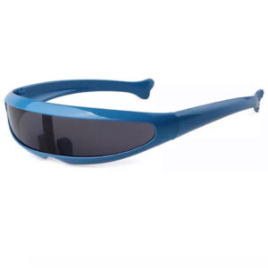 Futuristic Cyclops Blue Visor Mirrored Lens Sunglasses from Madaame